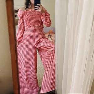 Pants - Vintage gingham high waisted palazzo playsuit